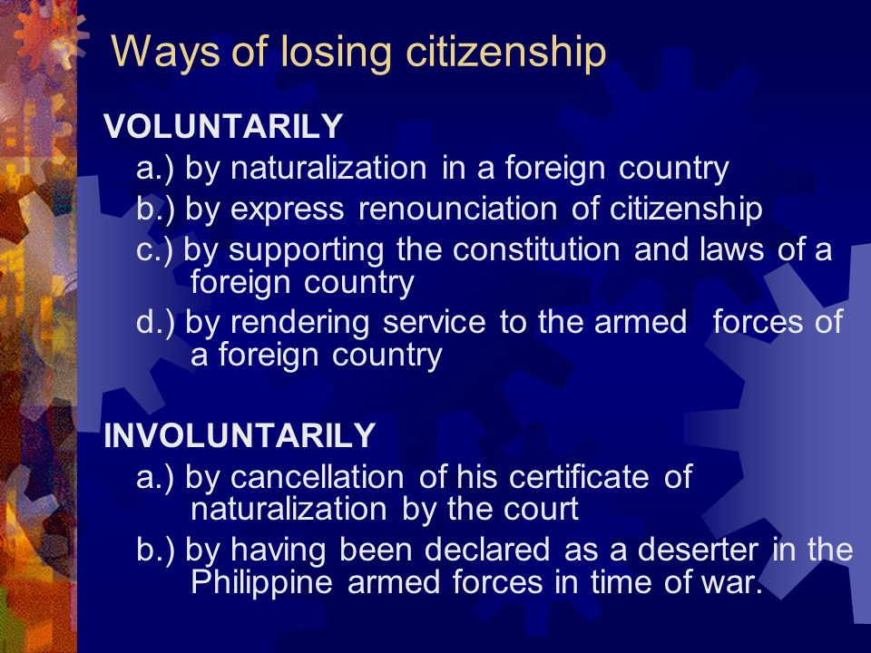 Ways of losing citizenship
