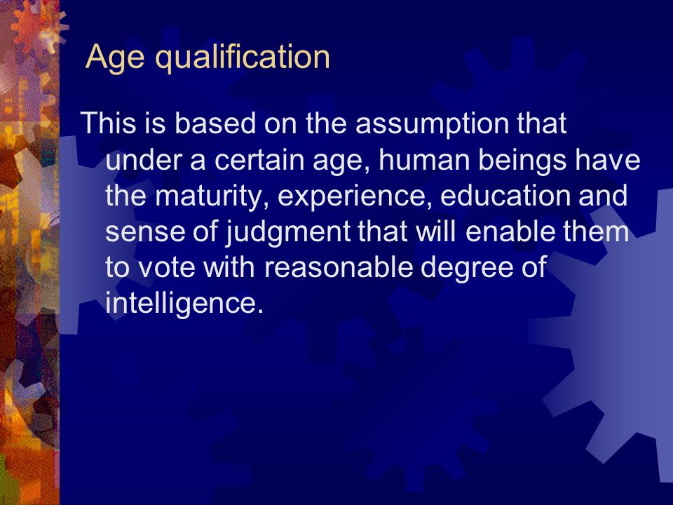 Age qualification
