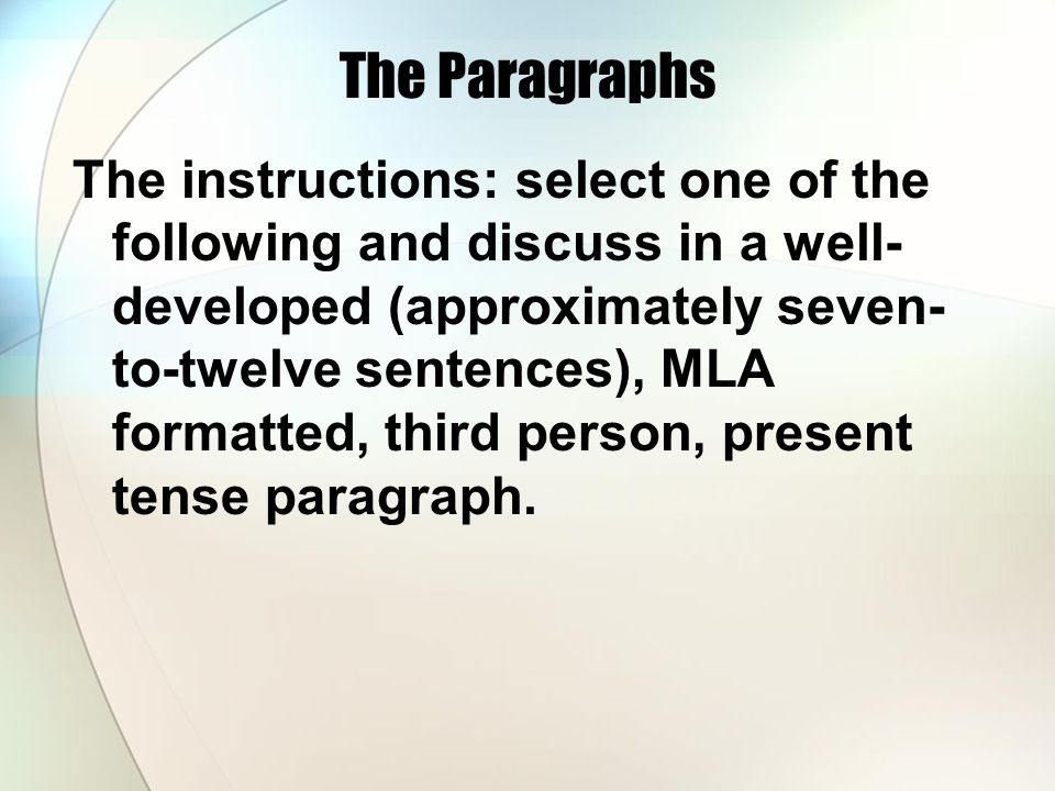 The Paragraphs