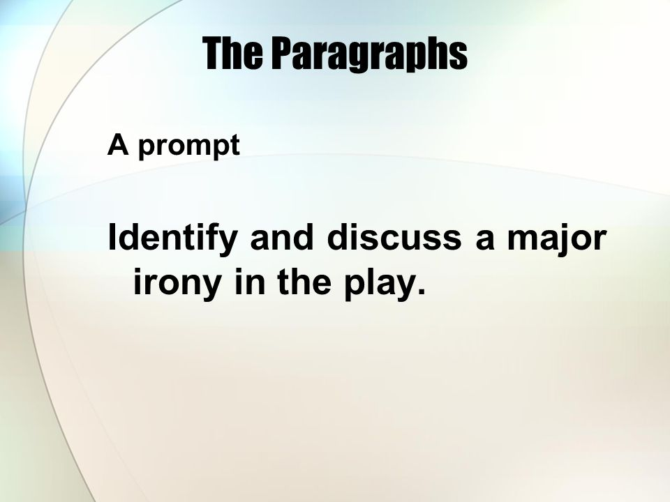 The Paragraphs Identify and discuss a major irony in the play.
