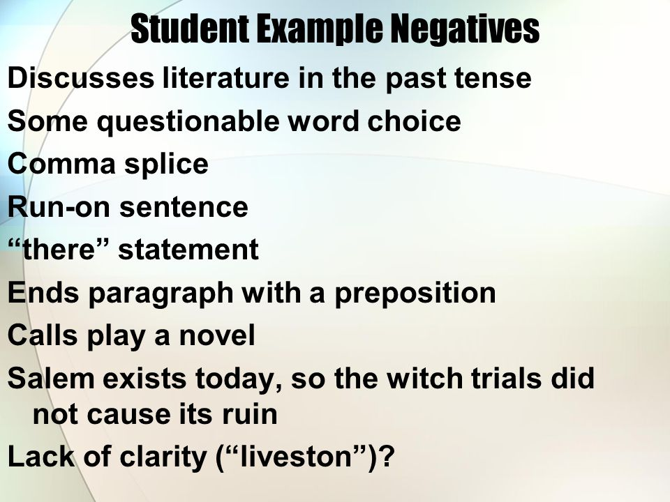 Student Example Negatives