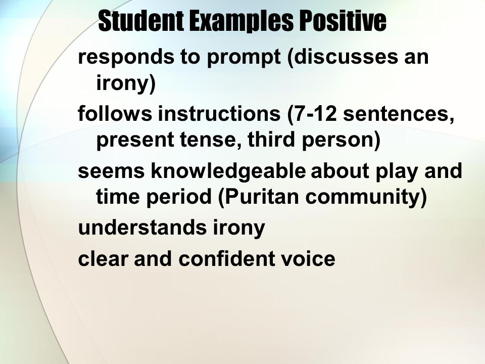 Student Examples Positive