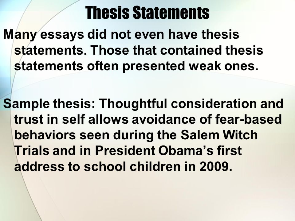 Thesis statement for research paper on salem witch trials