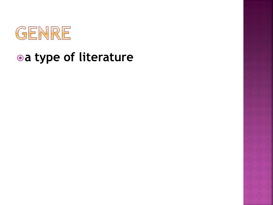 Genre a type of literature
