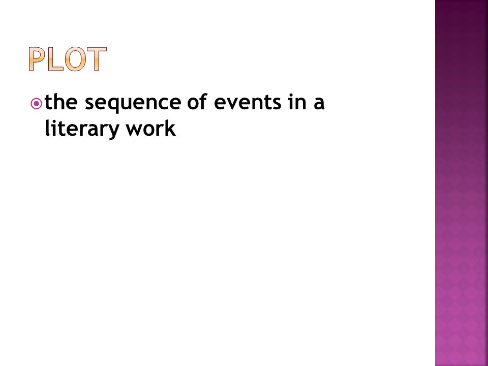 Plot the sequence of events in a literary work