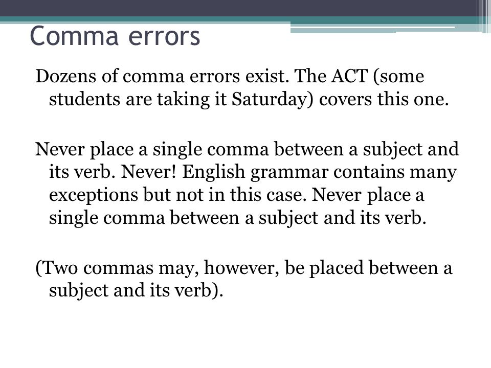 Comma errors