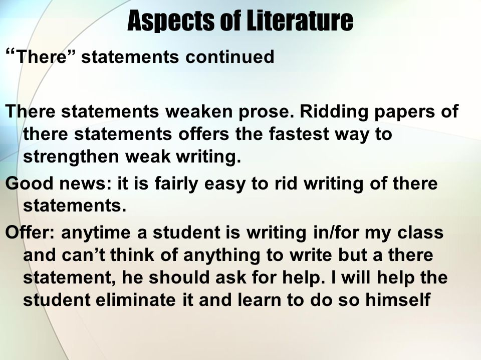 Aspects of Literature There statements continued
