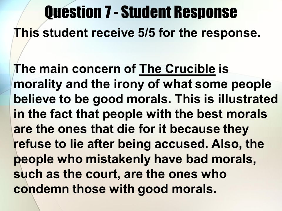 Question 7 - Student Response