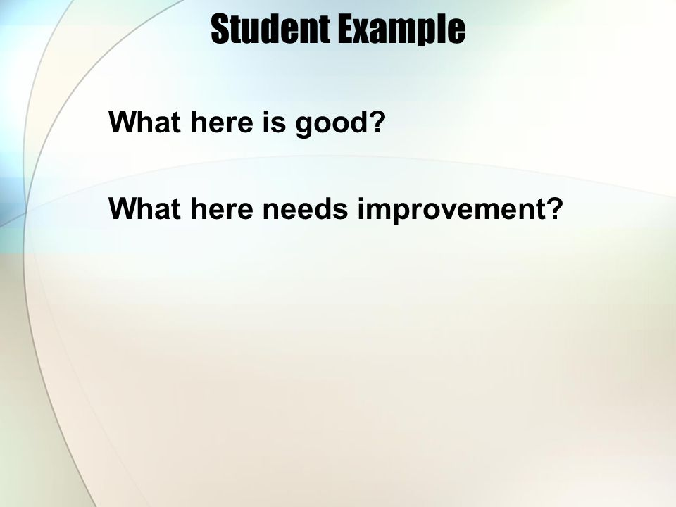 Student Example What here is good What here needs improvement