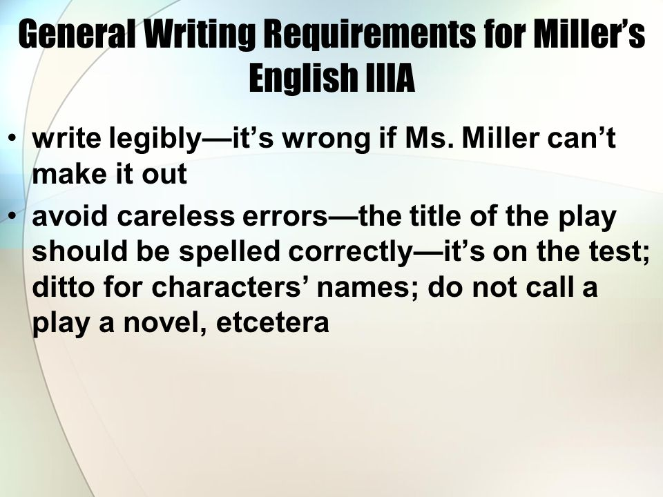 General Writing Requirements for Miller's English IIIA