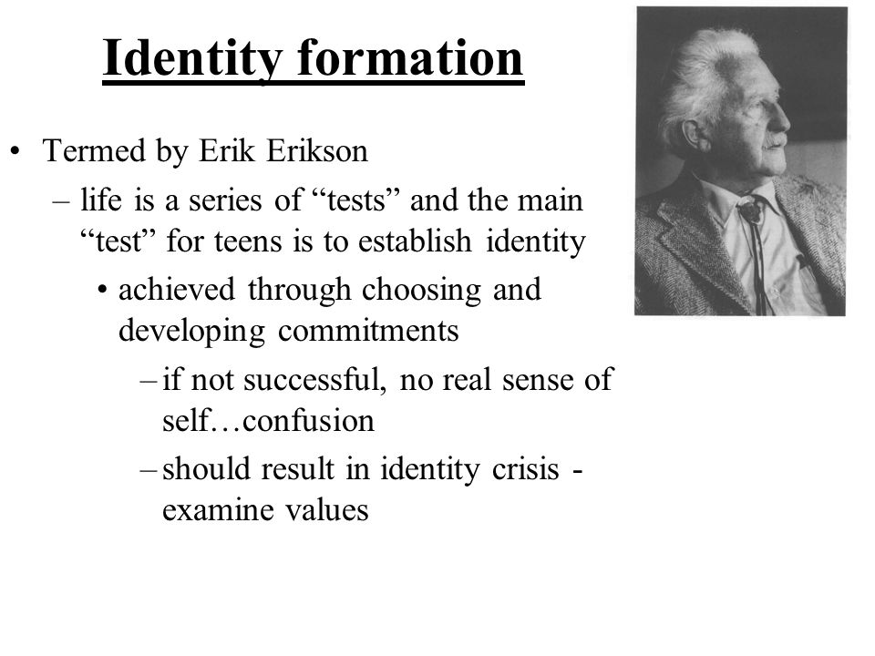 Identity formation Termed by Erik Erikson