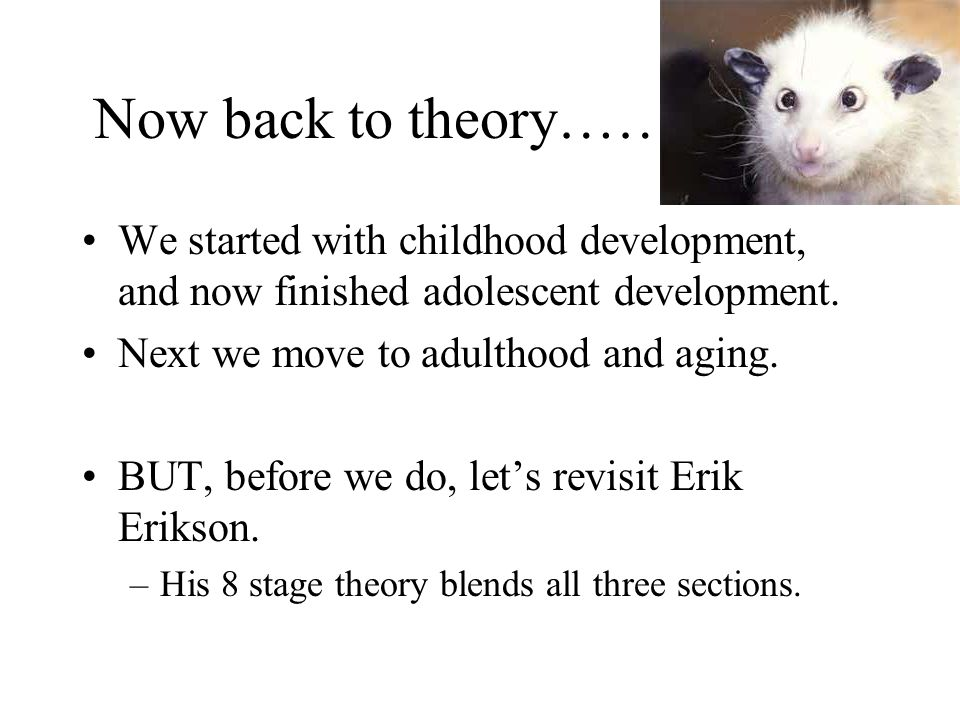 Now back to theory…… We started with childhood development, and now finished adolescent development.