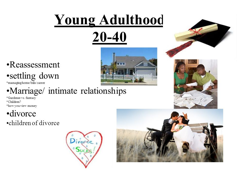Young Adulthood 20-40 Reassessment settling down