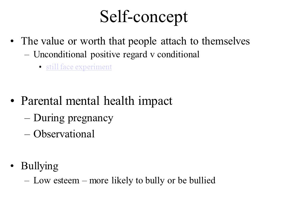 Self-concept Parental mental health impact