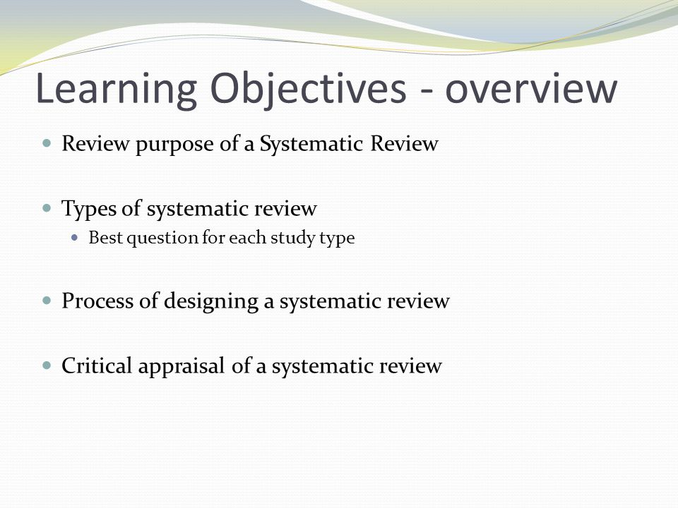 Learning Objectives - overview