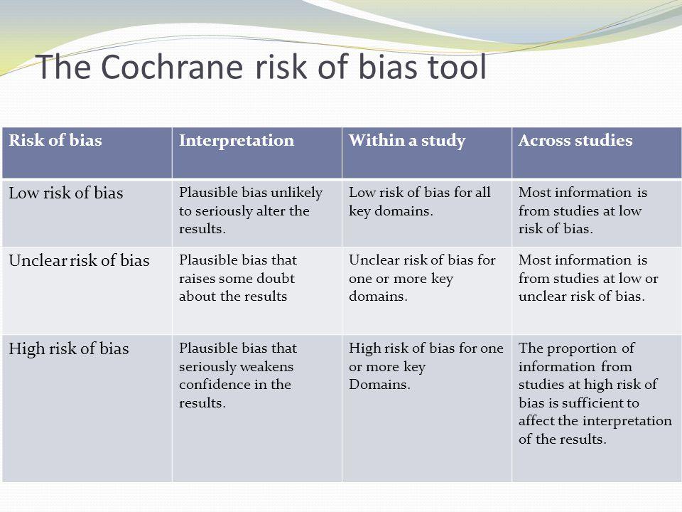 The Cochrane risk of bias tool