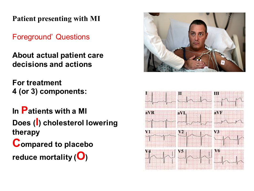 Compared to placebo Patient presenting with MI Foreground' Questions