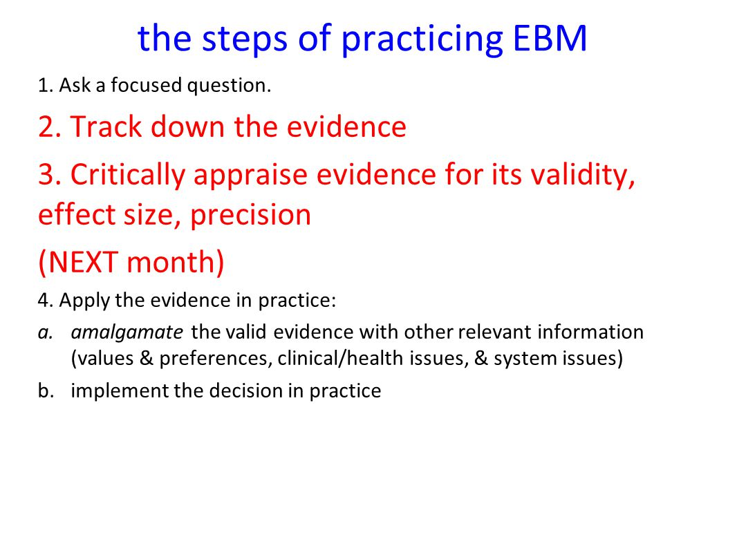 the steps of practicing EBM