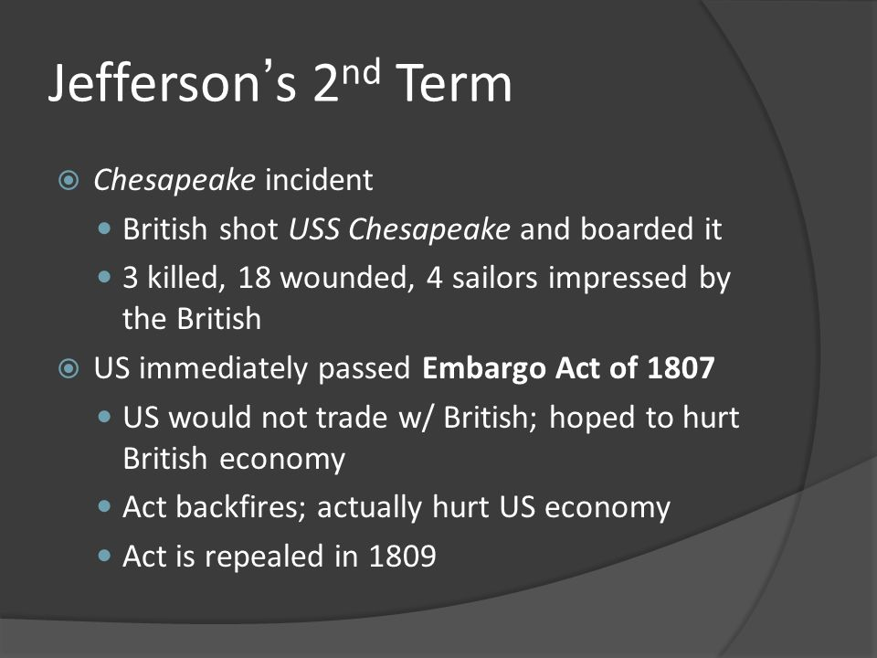Jefferson's 2nd Term Chesapeake incident