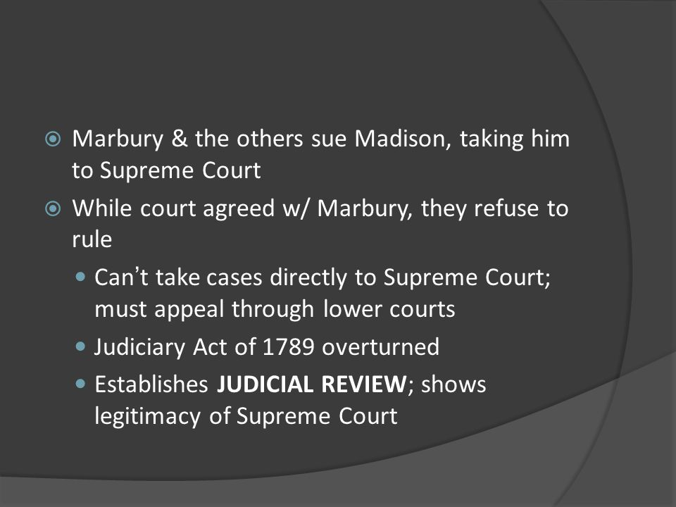 Marbury & the others sue Madison, taking him to Supreme Court