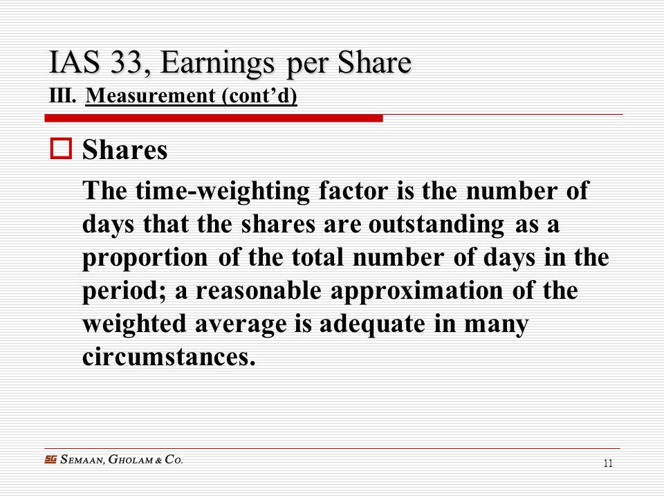 IAS 33, Earnings per Share III. Measurement (cont'd)