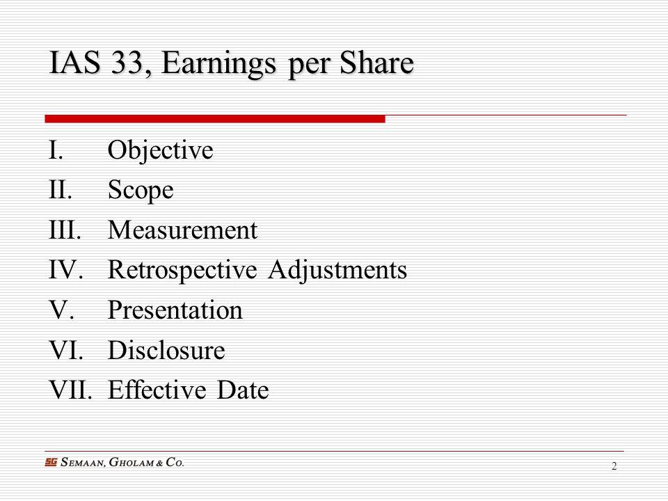 IAS 33, Earnings per Share Objective Scope Measurement