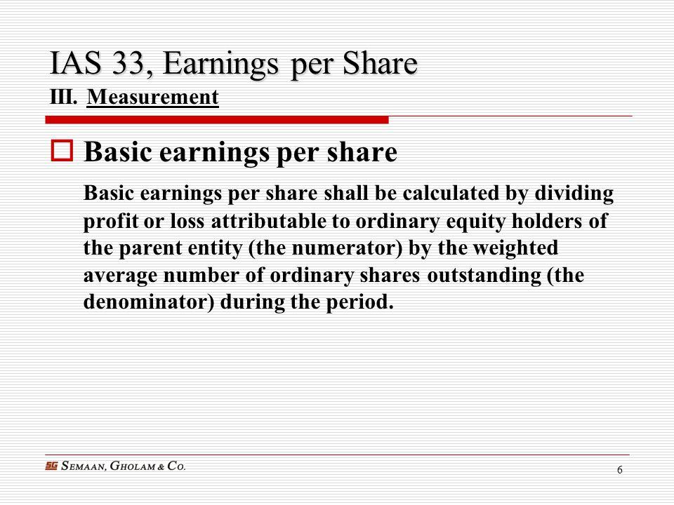 IAS 33, Earnings per Share III. Measurement