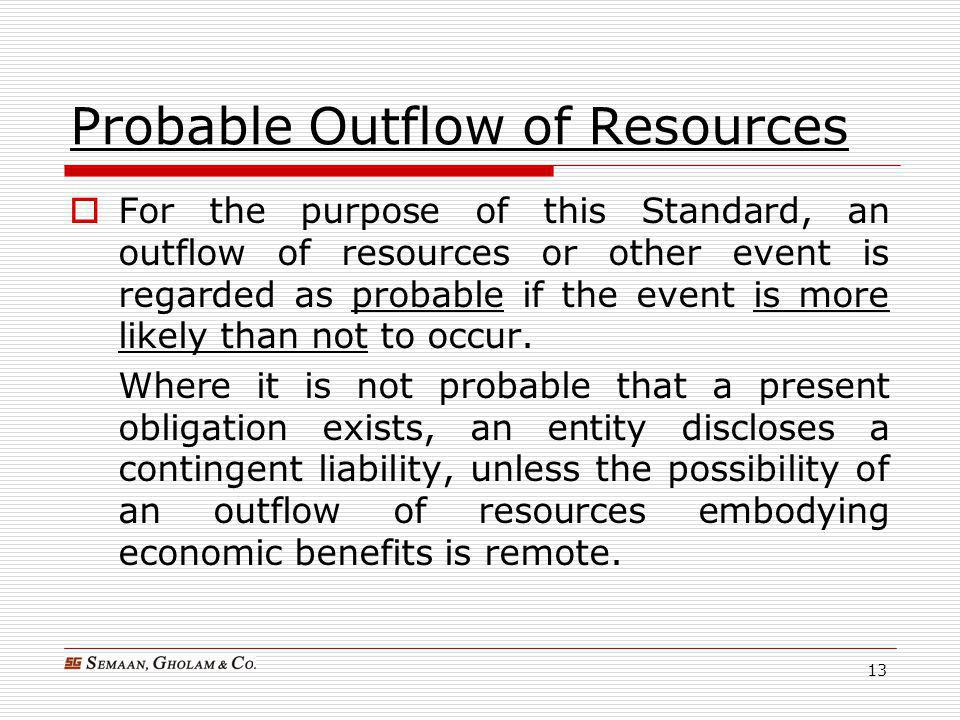 Probable Outflow of Resources