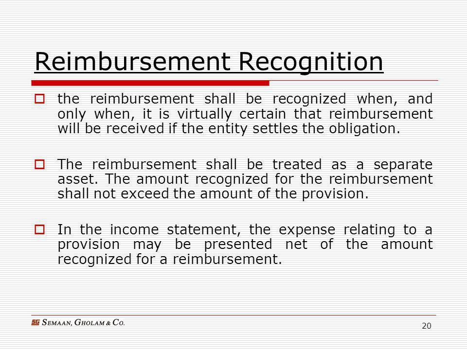 Reimbursement Recognition