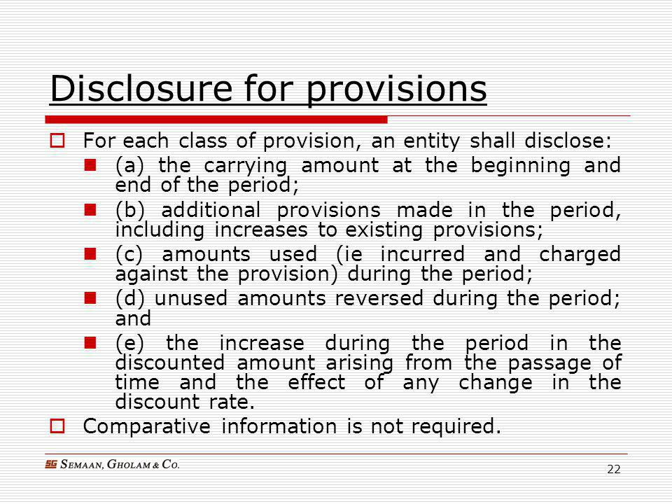 Disclosure for provisions