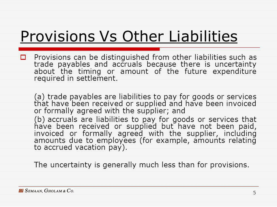 Provisions Vs Other Liabilities