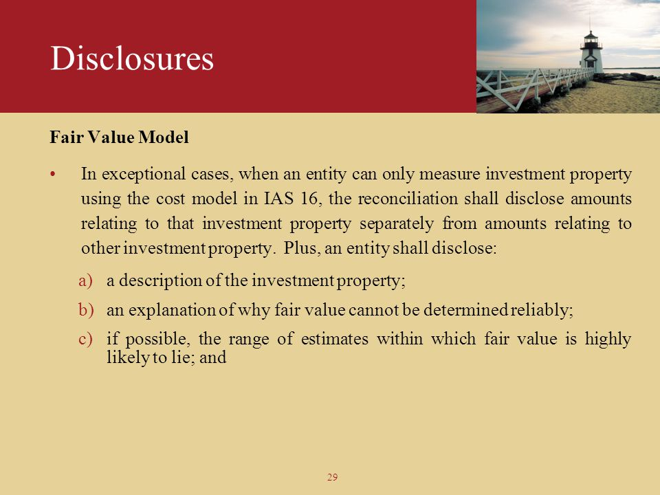 Disclosures Fair Value Model