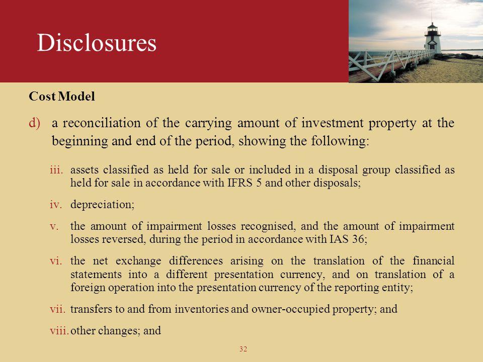 Disclosures Cost Model.