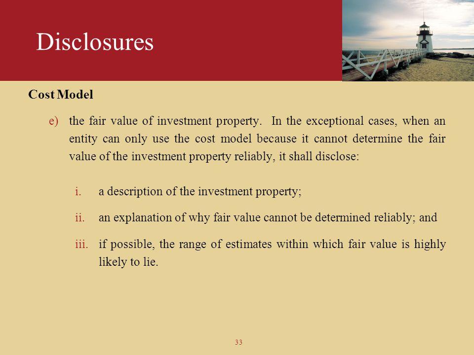Disclosures Cost Model