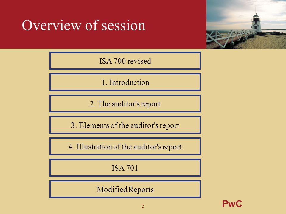 Overview of session PwC ISA 700 revised 1. Introduction