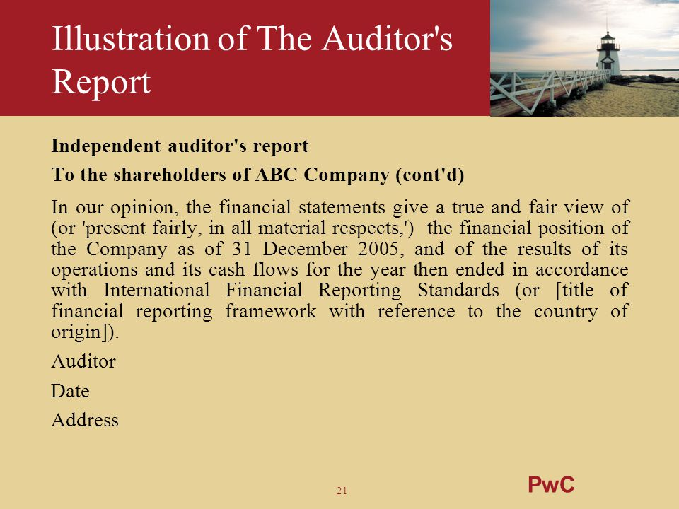 Illustration of The Auditor s Report
