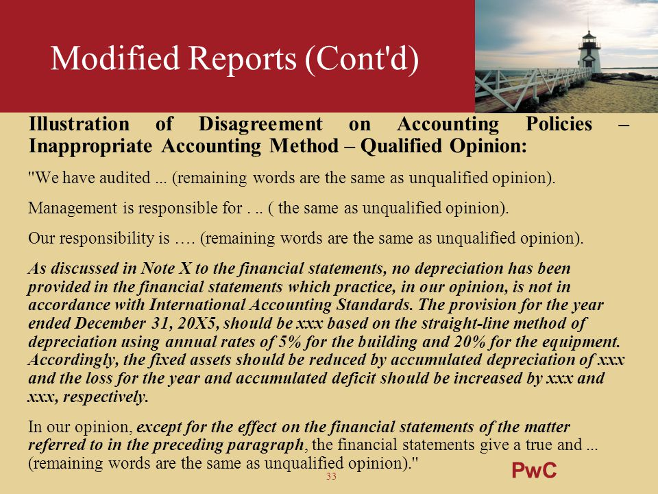 Modified Reports (Cont d)