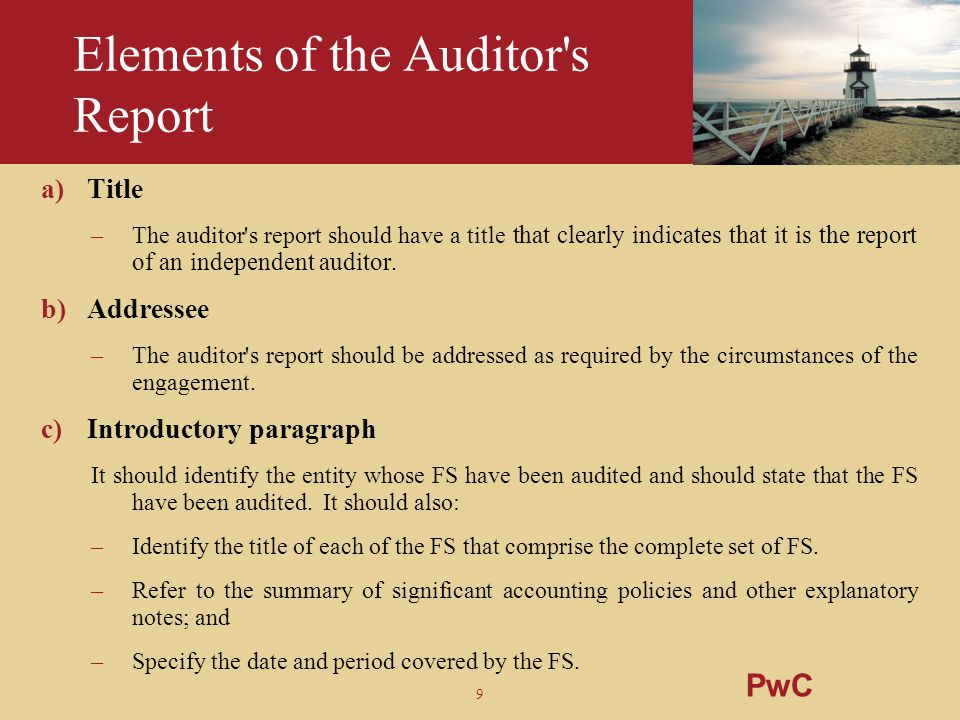 Elements of the Auditor s Report