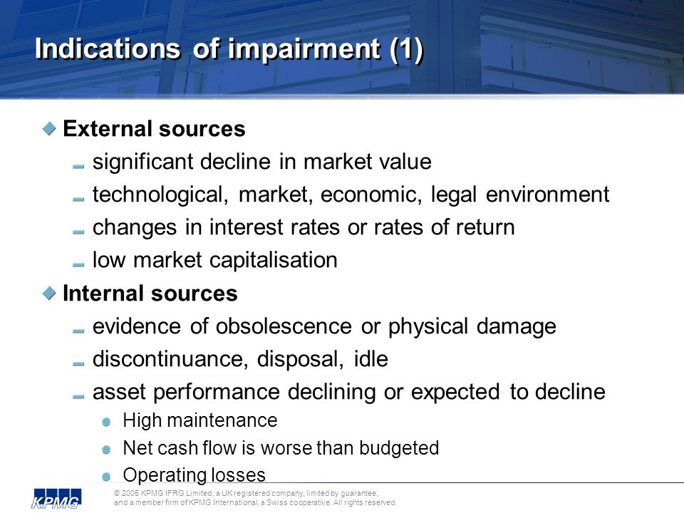 Indications of impairment (1)