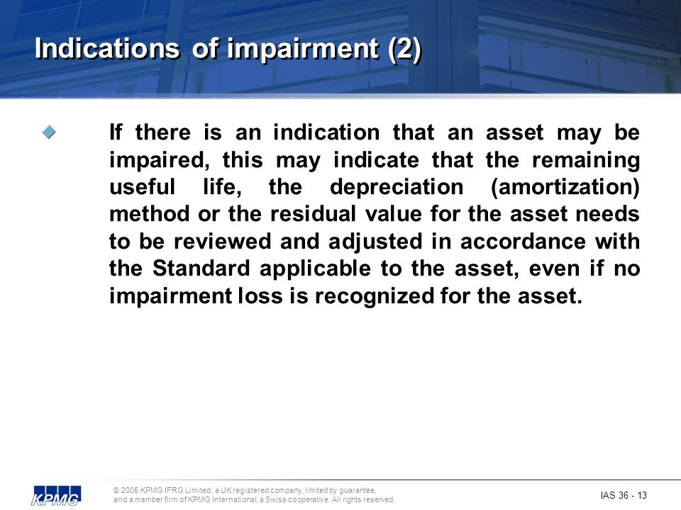 Indications of impairment (2)