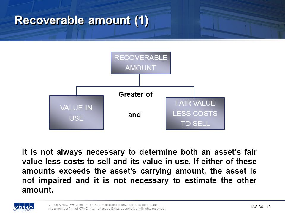 Recoverable amount (1) RECOVERABLE. AMOUNT. Greater of. and. VALUE IN. USE. FAIR VALUE. LESS COSTS.