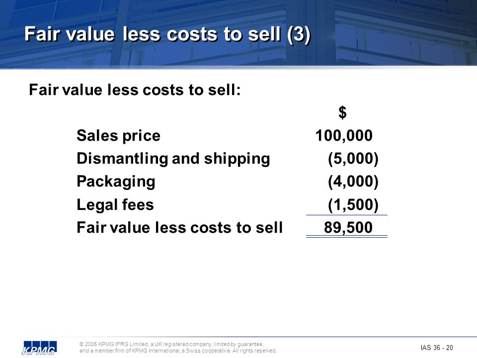 Fair value less costs to sell (3)