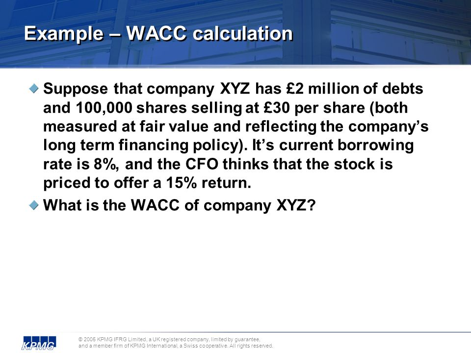 Example – WACC calculation