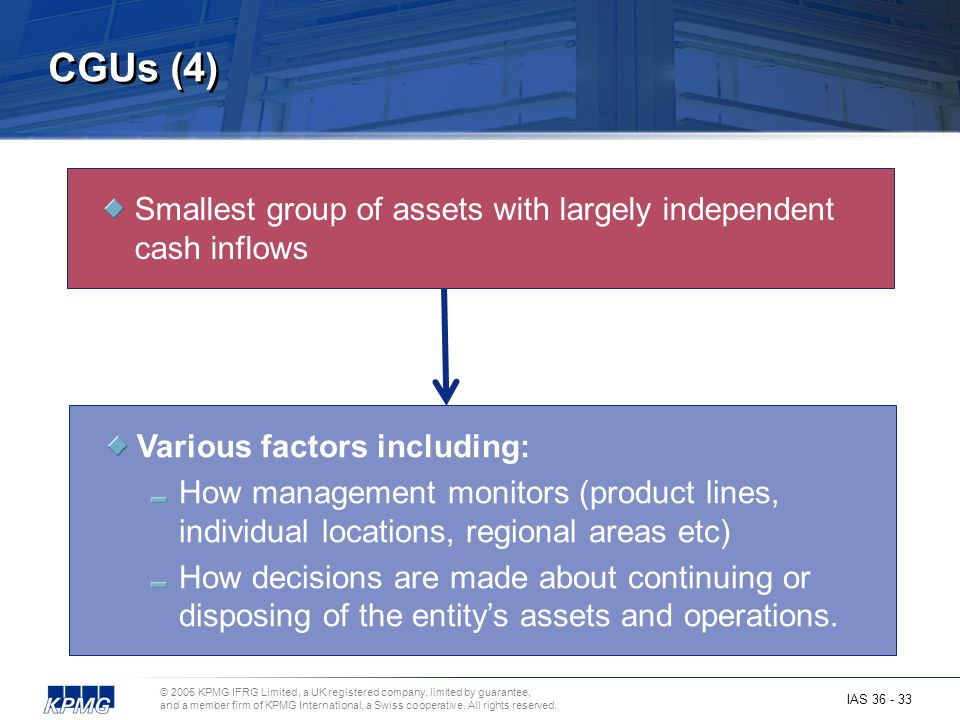 CGUs (4) Smallest group of assets with largely independent cash inflows.