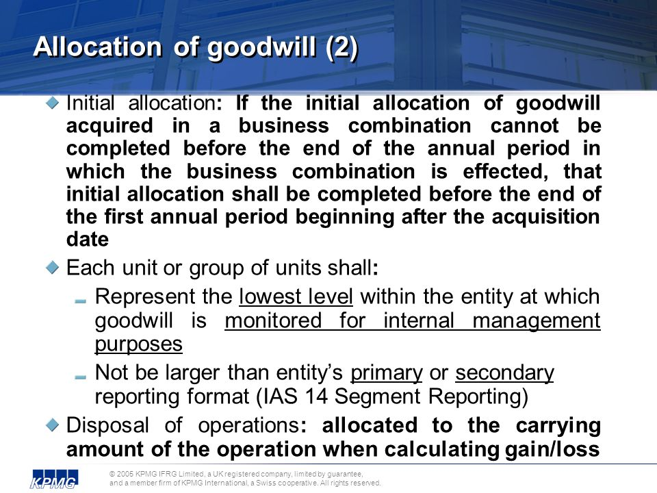 Allocation of goodwill (2)