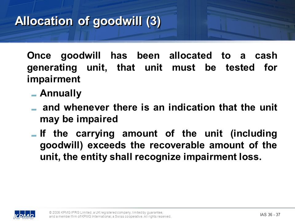 Allocation of goodwill (3)