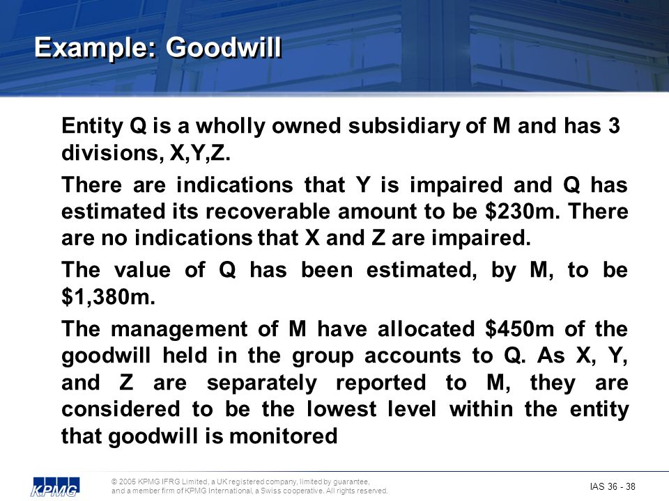 Example: Goodwill Entity Q is a wholly owned subsidiary of M and has 3 divisions, X,Y,Z.