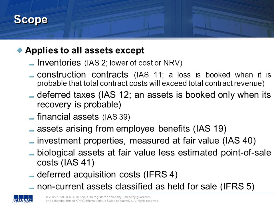 Scope Applies to all assets except