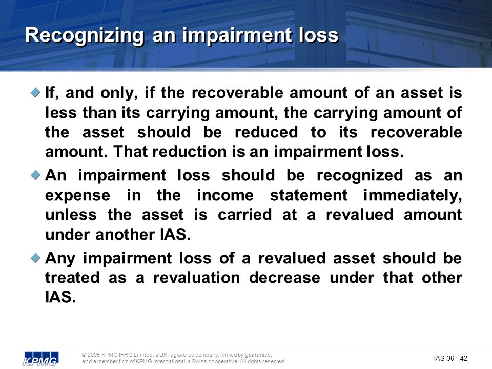 Recognizing an impairment loss