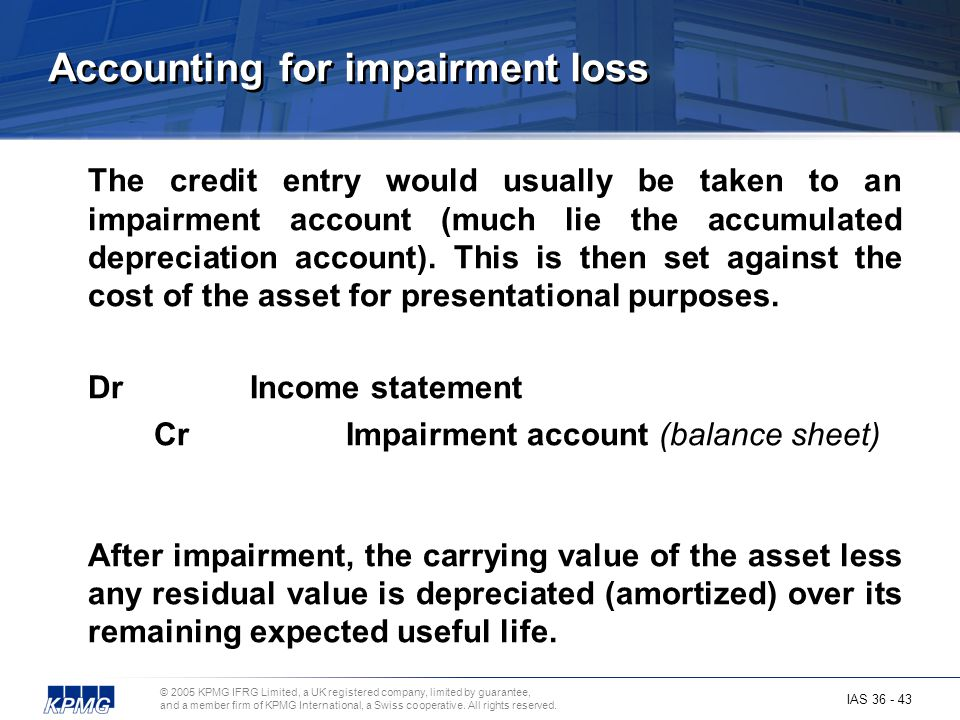 Accounting for impairment loss